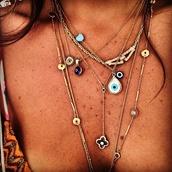 jewels,necklace,layered,necklase,jewelry,evil eye,hipster,hamsa,boho,summer,gold,turquoise jewelry,boho jewelry