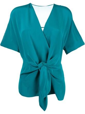 blouse women tie front silk green top