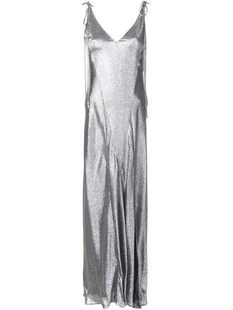 dress women spandex silk grey metallic