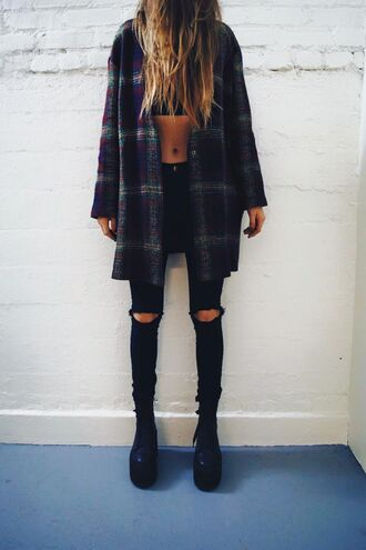 jacket plaid check flannel shirt cute cool tumblr teenagers 90s style grunge vintage retro summer spring fall outfits winter outfits blue navy dark red green