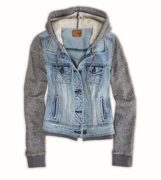 top denim jacket grey sweater
