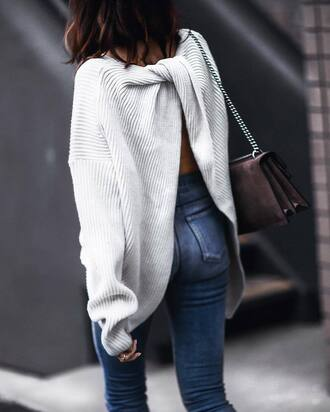 sweater tumblr white sweater open back backless sweater backless oversized sweater oversized denim jeans blue jeans bag grey bag chain bag