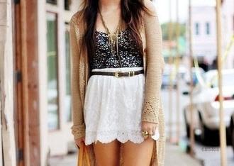 skirt white skirt white lace skirt lace skirt black crop top sparkly black crop top brown cover up cardigan brown cardigan