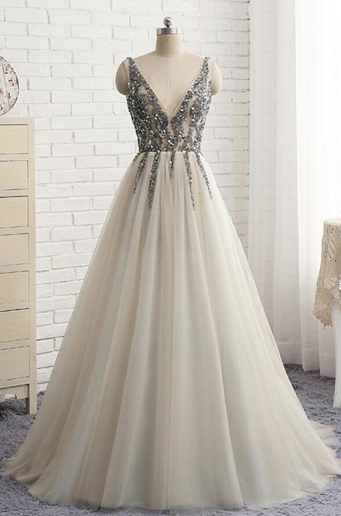 High Quality Deep V-neckline Grey Prom Dresses, Tulle Prom Dresses with Sequins, Backless prom Dresses on Storenvy