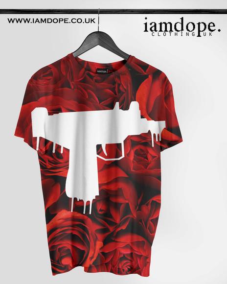 gun t-shirt rap swag uzi dope shit dope tshirt? Tshirt roses allover allover print Swag swagfashions way freshtops hiphop