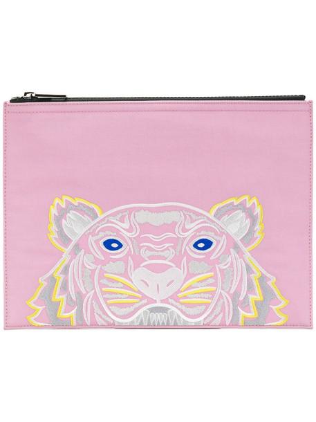 women tiger clutch cotton purple pink bag