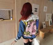 jacket,soft grunge,denim,cartoon,retro,vintage,grunge,outifit,red hair,tumblr,girly,riot,oversized,jeans,print,back print,fashion,denim jacket
