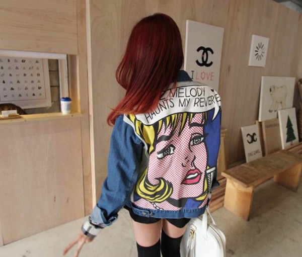 jacket soft grunge denim cartoon retro vintage grunge outifit red hair tumblr girly riot oversized jeans print back print fashion denim jacket