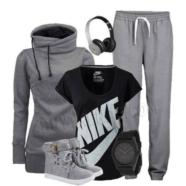 pants sweats sweater sweatpants grey black shirt