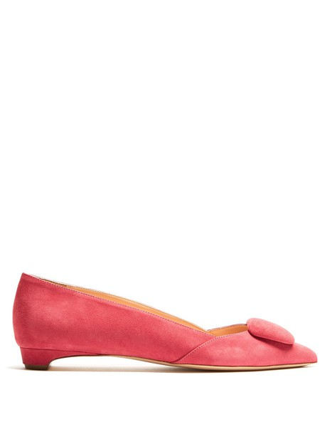 flats suede pink shoes