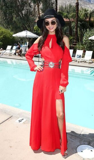 dress red dress red victoria justice coachella coachella outfit hat slit dress maxi dress belt