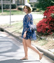 life & messy hair,blogger,dress,shoes,bag,jewels,hat,blue dress,floral dress,mini dress,chanel bag,sandals,flat sandals,spring outfits
