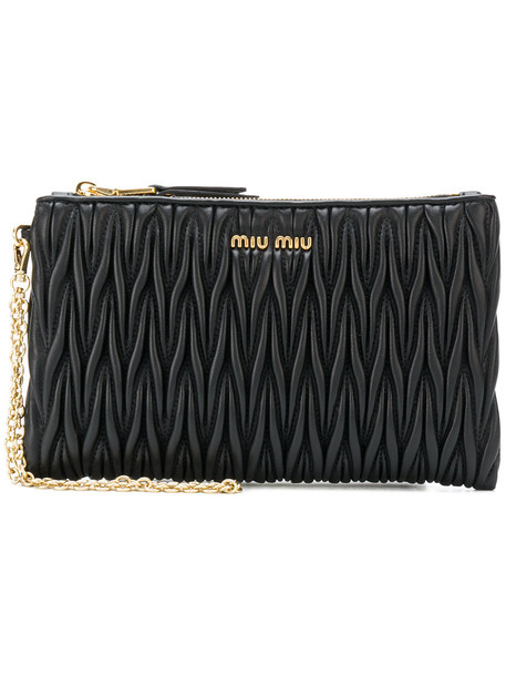 Miu Miu zip women pouch leather black bag