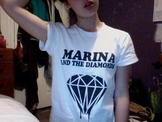 t-shirt marina and the diamonds marina diamonds cute grunge black white logo music pop cool singer