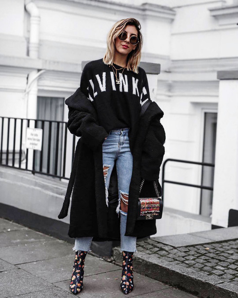 sweater tumblr sweatshirt black sweater coat black coat oversized oversized coat denim jeans blue jeans cropped jeans boots floral floral boots sunglasses