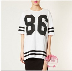 Shirt,womens celeb oversized 86 american baseball tee t