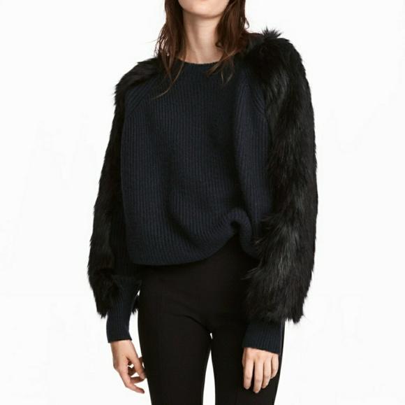 H&M Sweaters | Hm Fur Sleeve Sweater | Poshmark