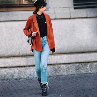 top tumblr rust hat black hat fisherman cap black turtleneck top turtleneck black top denim jeans blue jeans boots black boots ankle boots buckle boots bag gucci gucci bag dionysus necklace silver necklace silver jewelry jewels jewelry fall outfits