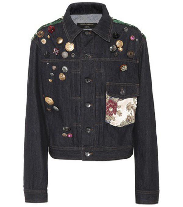 Dolce & Gabbana Embellished denim jacket in blue
