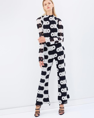 top matching set monochrome sequins pattern 60s style pants