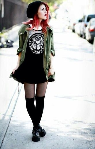 grunge soft grunge pattern skater dress black dress graphic tee sheer sheer chest goth mid thigh goth hipster mid thigh dress mid thigh length jacket