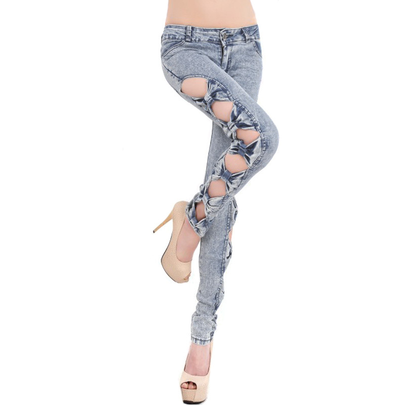 Aliexpress.com : buy 2014 new women's fashion casual jeans feet hollow bowknot hole jeans pencil pants slim leg trousers free shipping from reliable pants motorcycle suppliers on shenzhen gache trading limited