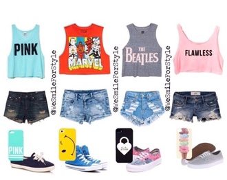 tank top the beatles marvel avengers victoria's secret pink by victorias secret blouse shorts shoes phone cover