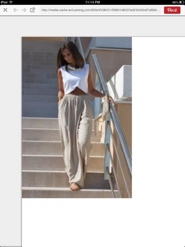 pants summer white blouse crop tops beachwear cre cream pants