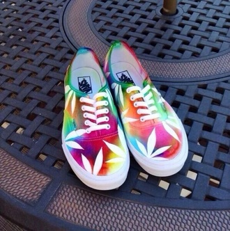 shoes tie dye vans marijuana tie dye vans weed leaves colorful cool stoner hemp leaf print weed shoes rainbow pot