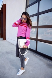 blogger,shoes,posh classy mom – a lifestyle blog by sheree,bag,belt,sunglasses,sweater,pink sweater,shoulder bag,sneakers