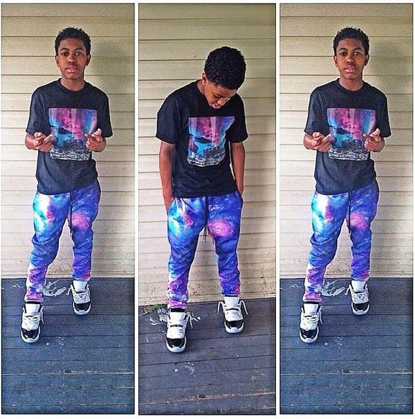 shirt pants hammer pants jordans sweatpants galaxy print shoes