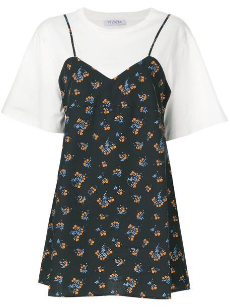 VIVETTA dress shirt dress t-shirt dress women layered cotton blue