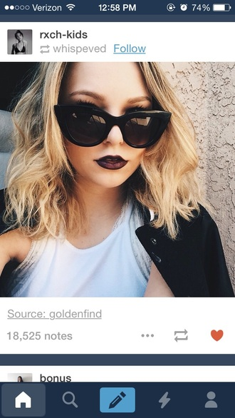 sunglasses glasses cat eye black make-up lips lipstick dark dark lipstick