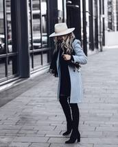coat,black boots,over the knee boots,mini black dress,scarf,felt hat,winter coat,winter look