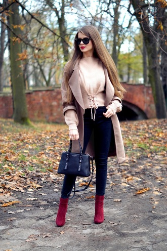 only my fashion style blogger coat sweater bag shoes fall outfits handbag beige coat nude sweater ankle boots skinny jeans