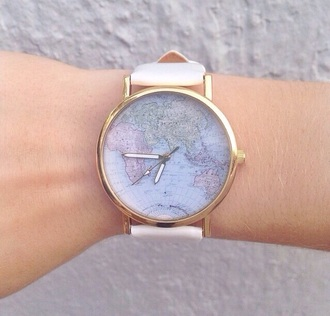 jewels watch world map travel white gold