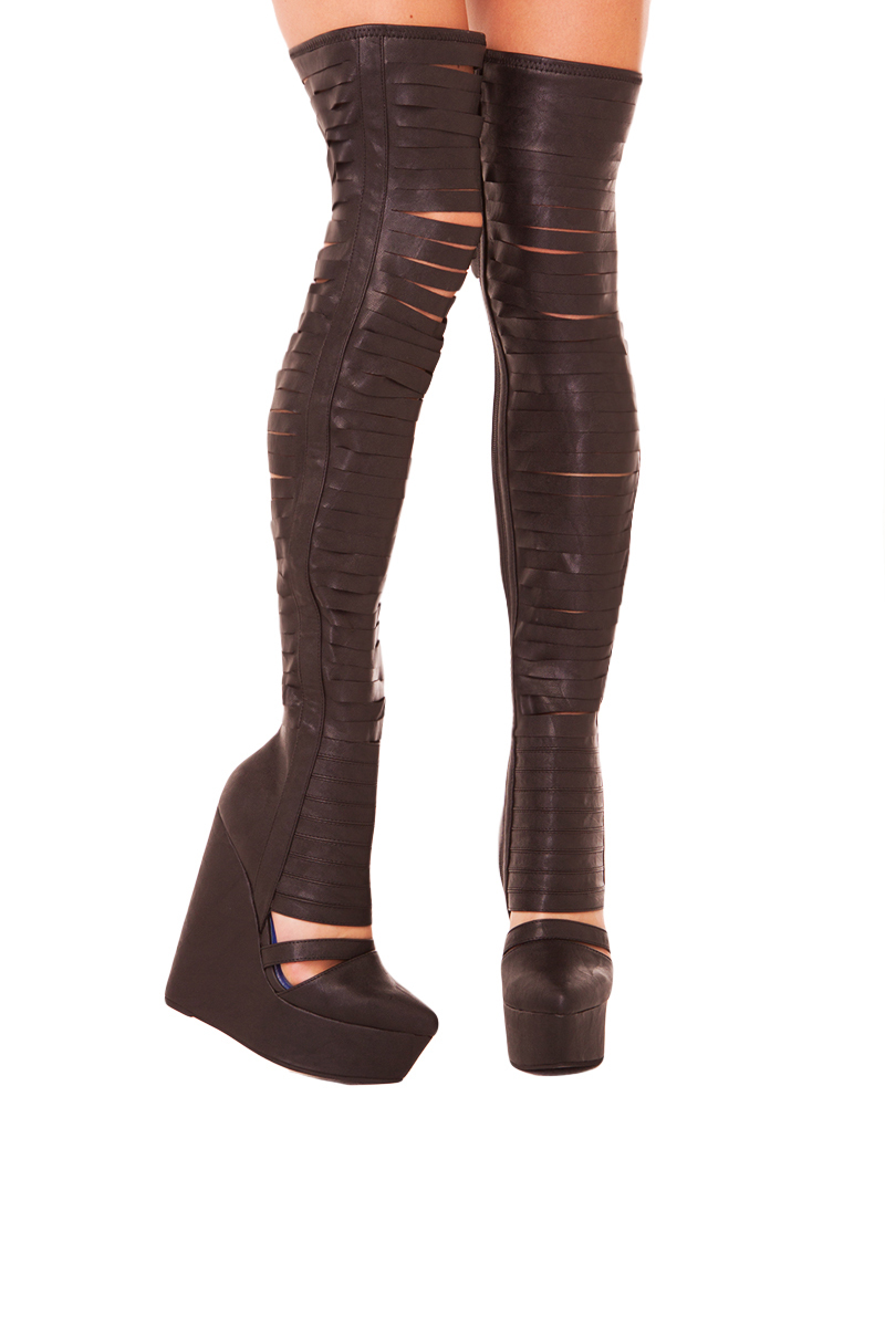 jeffrey cbell gashed slashed thigh high wedge boot