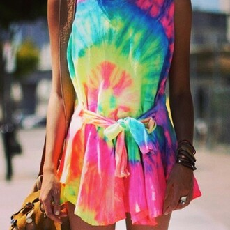 dress tie dye jewels boho belt jeans blouse bag multicolor dress hat jacket