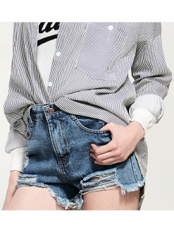 Retro high waisted ripped denim hot pants blue