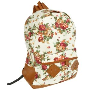 White Canvas Rucksack Vintage Flower Backpack School Campus Book Bag: Amazon.co.uk: Sports & Outdoors