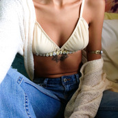 underwear,bra,top,tank top,cardigan,jeans,denim,tattoo,high waisted jeans,swimwear,bracelets,jewels,shell bikini,shell,bikini,summer outfits,beige,yellow,white,indie,boho,on point,on point clothing,festive,tumblr girl,hot,nude,bralette,cute