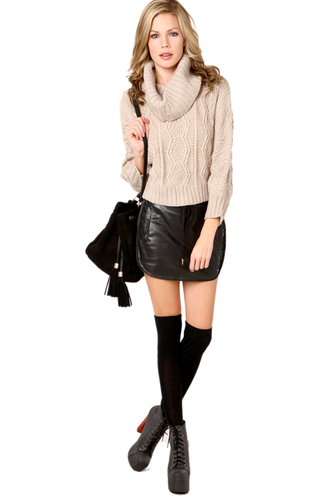 skirt black leather short skirt sexy skirt sexy leather skirt beige sweater stockings