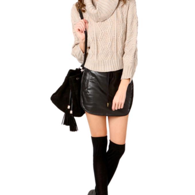 skirt sweater black leather beige skirt skirt
