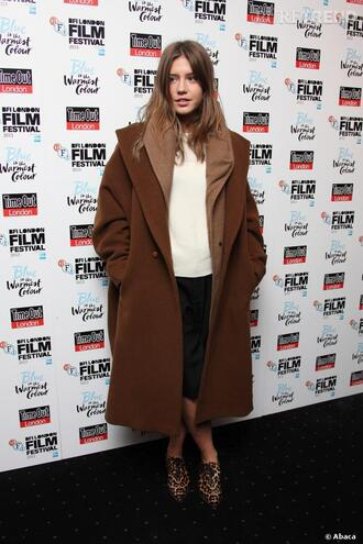 coat adele exarchopoulos french actress celebrity style celebrity oversized oversized coat brown coat shoes leopard print