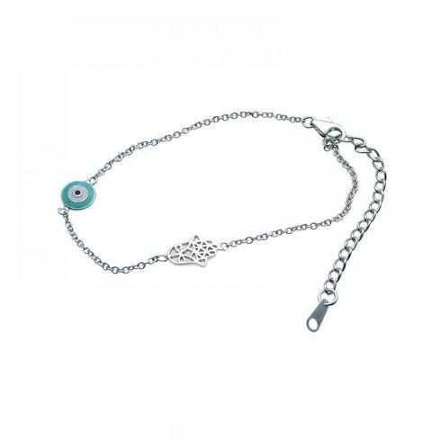 Sterling silver dainty evil eye & hamsa bracelet