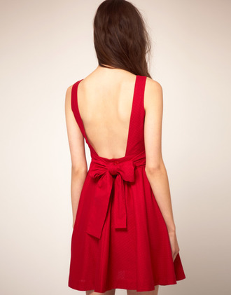 dress red red dress bare back low cut back bows