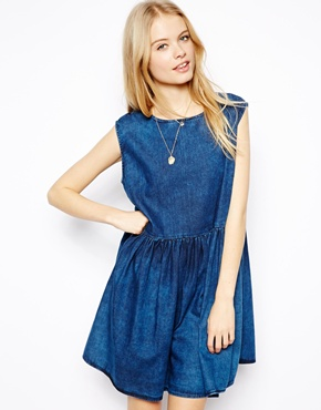 ASOS | ASOS Sleeveless Denim Smock Dress in Dark Wash at ASOS