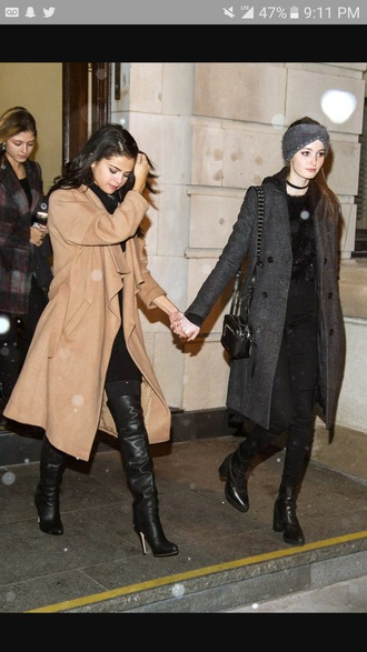coat selena gomez women woolen coat long coat casual wool coat waterfall coat tan grey trench coat brown ankle length