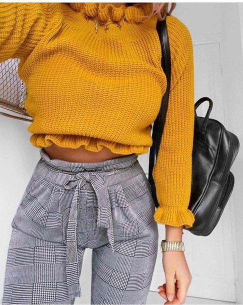 sweater yellow knitwear sweater cute