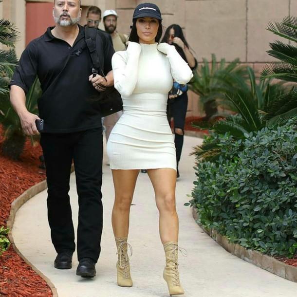 dress kim kardashian white white dress bodycon dress